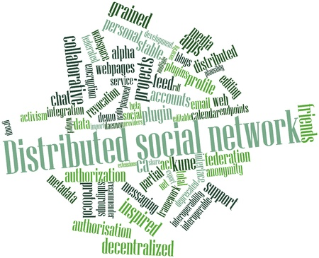 decentralized: Abstract word cloud for Distributed social network with related tags and terms Stock Photo