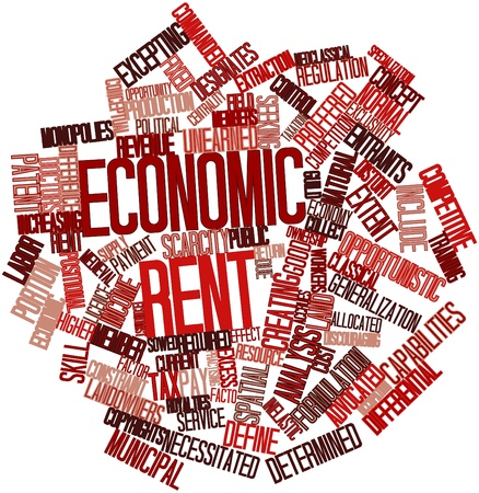 Abstract word cloud for Economic rent with related tags and terms