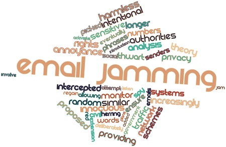 increasingly: Abstract word cloud for Email jamming with related tags and terms Stock Photo