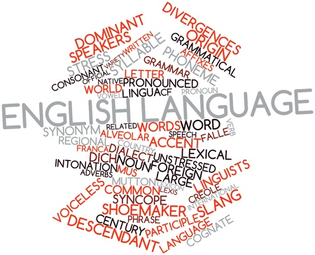 in english: Abstract word cloud for English language with related tags and terms Stock Photo