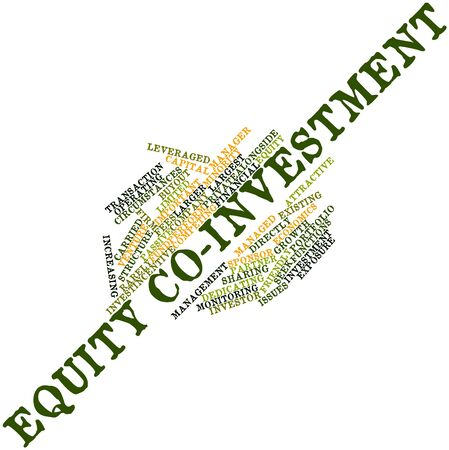 equity: Abstract word cloud for Equity co-investment with related tags and terms Stock Photo