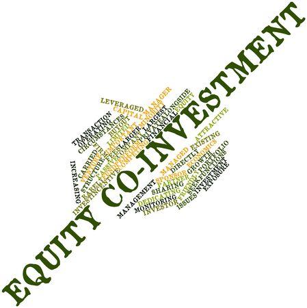 equidad: Nube palabra abstracta para la Equidad de co-inversión con las etiquetas y términos relacionados Foto de archivo