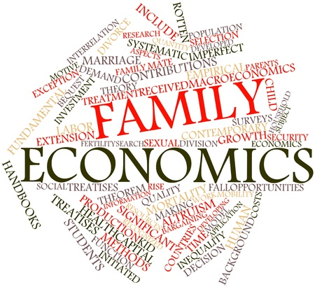 Abstract word cloud for Family economics with related tags and terms photo