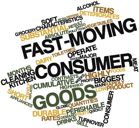 quantities: Abstract word cloud for Fast-moving consumer goods with related tags and terms Stock Photo