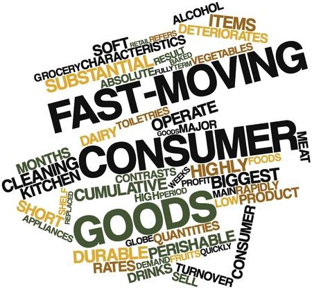 Nube palabra abstracta para los bienes de consumo de rápido movimiento con las etiquetas y términos relacionados
