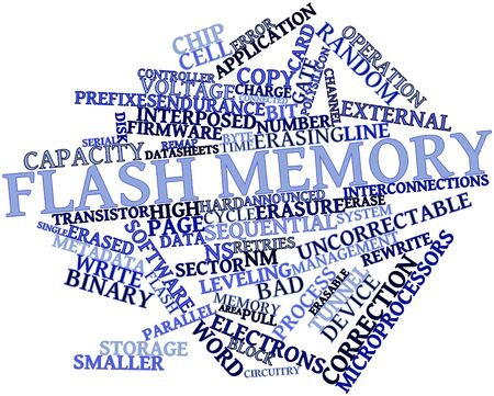 flash memory: Abstract word cloud for Flash memory with related tags and terms Stock Photo