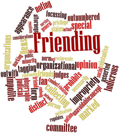 implications: Abstract word cloud for Friending with related tags and terms