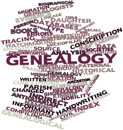 circumstantial: Abstract word cloud for Genealogy with related tags and terms Stock Photo