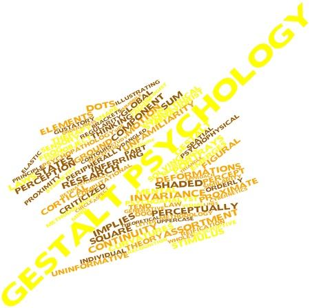 percepción: Nube palabra abstracta para la psicología Gestalt con etiquetas y términos relacionados