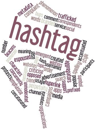 metadata: Word cloud astratto per hashtag con tag correlati e termini