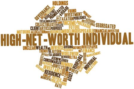 consumables: Abstract word cloud for High-net-worth individual with related tags and terms Stock Photo
