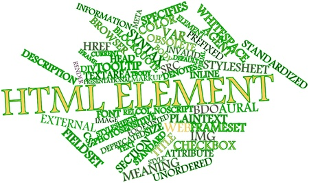 nested: Abstract word cloud for HTML element with related tags and terms Stock Photo