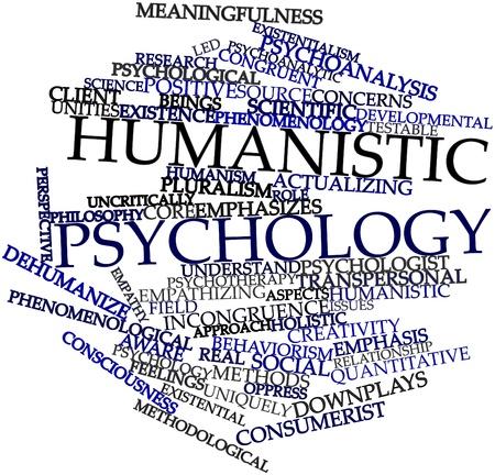 humanismo: Nube palabra abstracta para la psicología humanista con las etiquetas y términos relacionados Foto de archivo