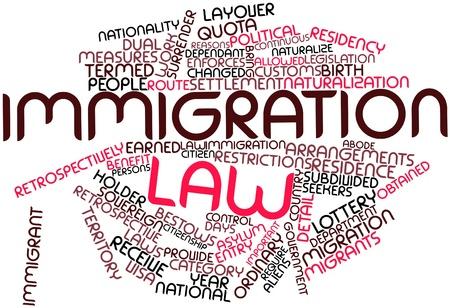introduced: Nube palabra abstracta por ley de inmigraci�n con las etiquetas y t�rminos relacionados Foto de archivo