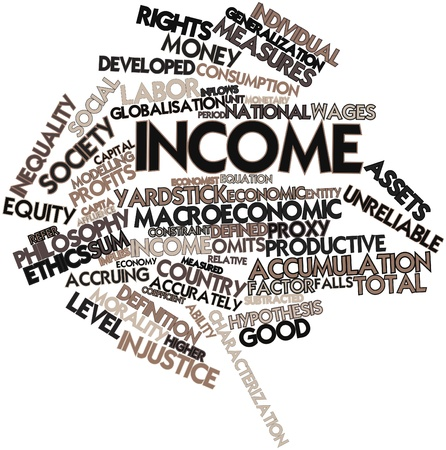 implies: Abstract word cloud for Income with related tags and terms Stock Photo