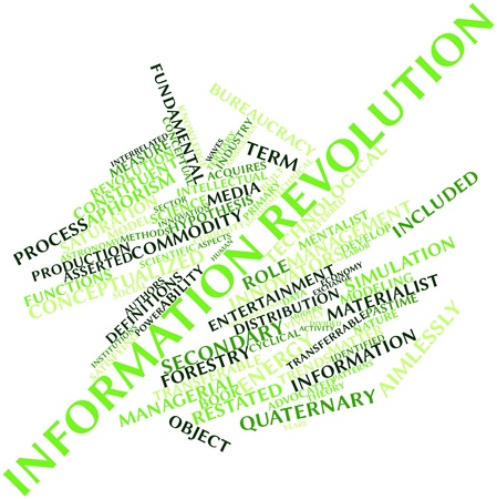 interrelated: Abstract word cloud for Information revolution with related tags and terms