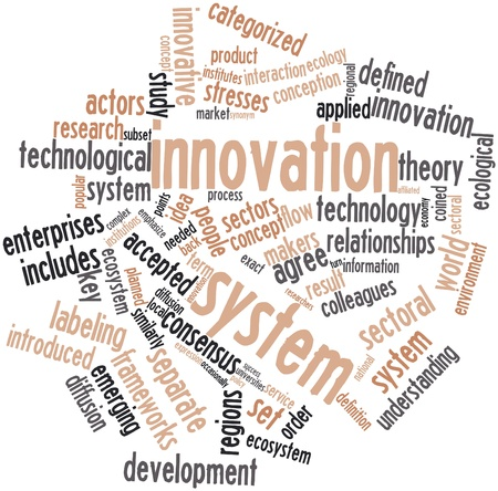 Abstract word cloud for Innovation system with related tags and terms