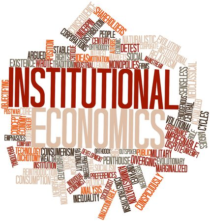 inequality: Abstract word cloud for Institutional economics with related tags and terms Stock Photo