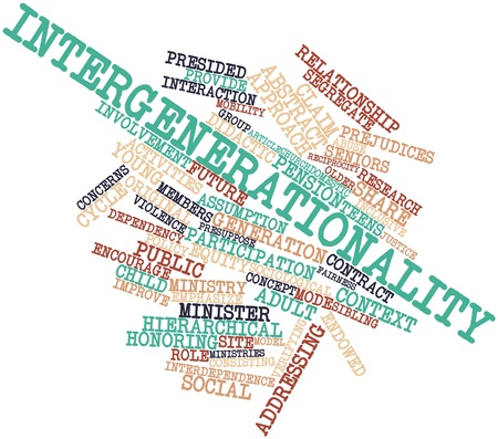 inclusive: Abstract word cloud for Intergenerationality with related tags and terms Stock Photo
