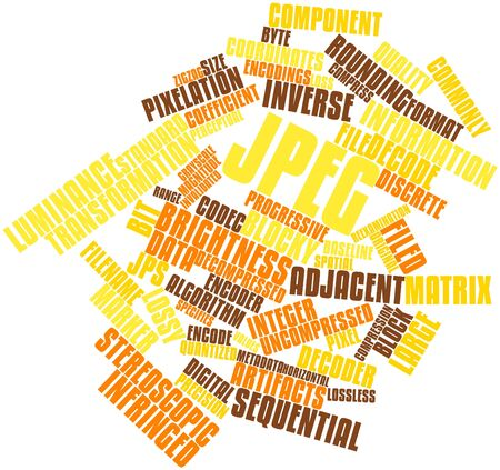 uncompressed: Abstract word cloud for JPEG with related tags and terms Stock Photo