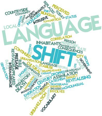 demografia: Nube palabra abstracta para el cambio lingüístico con las etiquetas y términos relacionados