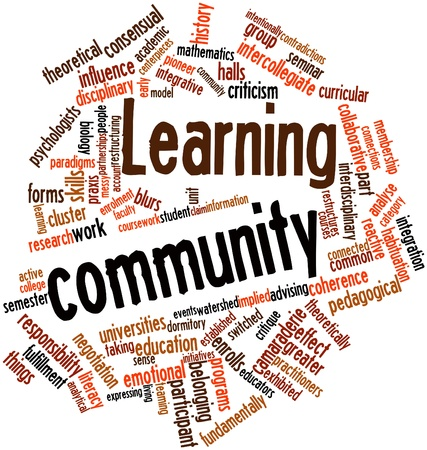 Abstract word cloud for Learning community with related tags and terms Stock Photo - 16578805