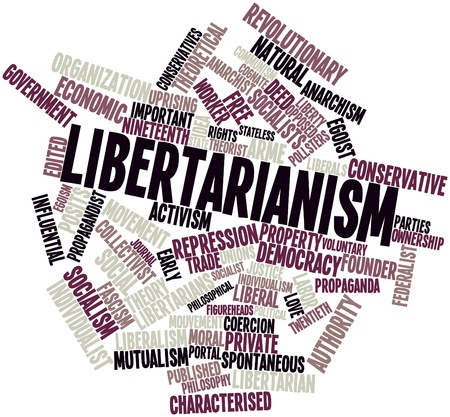 anarchism: Abstract word cloud for Libertarianism with related tags and terms Stock Photo