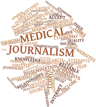 criticized: Abstract word cloud for Medical journalism with related tags and terms Stock Photo