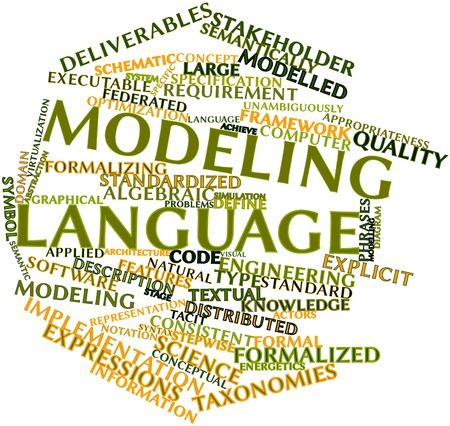 Abstract word cloud for Modeling language with related tags and terms photo