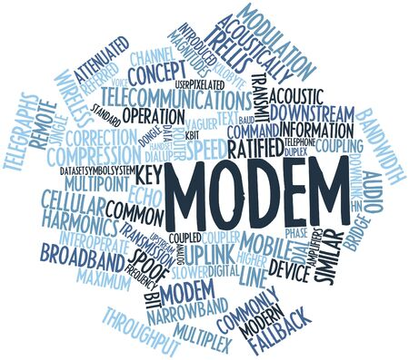 Abstract word cloud for Modem with related tags and terms