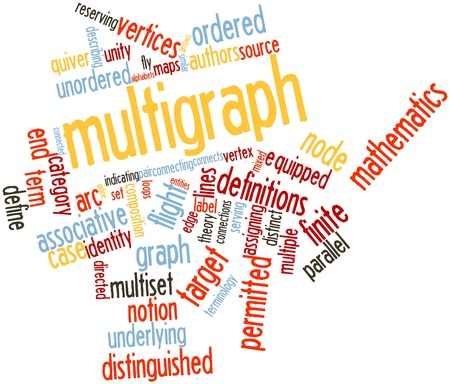 vertices: Abstract word cloud for Multigraph with related tags and terms Stock Photo