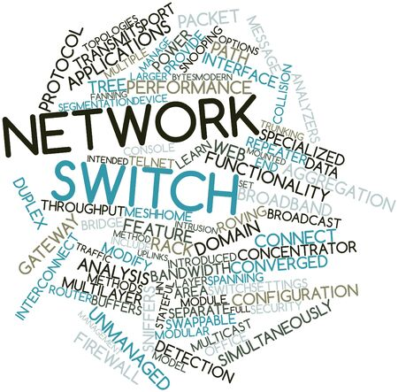Abstract word cloud for Network switch with related tags and terms Фото со стока