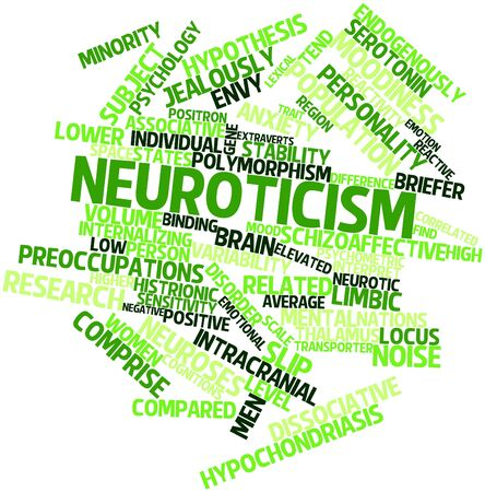correlated: Abstract word cloud for Neuroticism with related tags and terms
