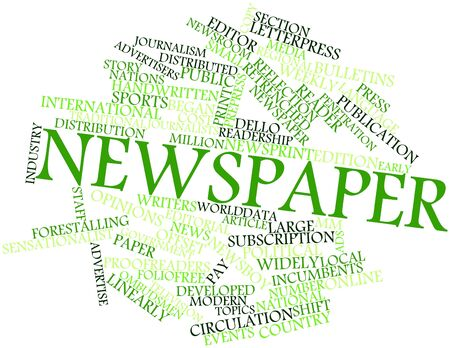 newsroom: Abstract word cloud for Newspaper with related tags and terms Stock Photo