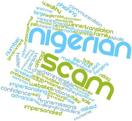 fraudulent: Abstract word cloud for Nigerian scam with related tags and terms