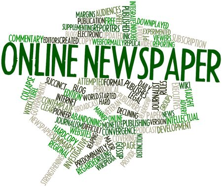 Abstract word cloud for Online newspaper with related tags and terms photo