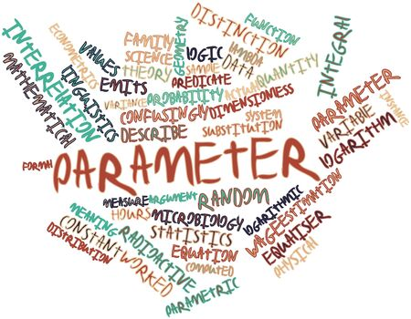 hypotheses: Abstract word cloud for Parameter with related tags and terms Stock Photo