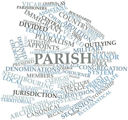 vested: Abstract word cloud for Parish with related tags and terms