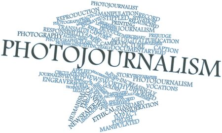 mitigated: Abstract word cloud for Photojournalism with related tags and terms