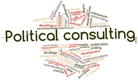 blossomed: Abstract word cloud for Political consulting with related tags and terms Stock Photo