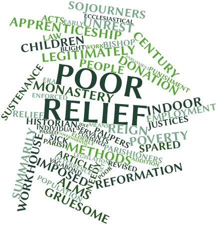 Abstract word cloud for Poor relief with related tags and terms photo