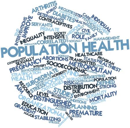 Nube palabra abstracta para la salud de la población con las etiquetas y términos relacionados