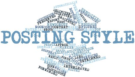 prefix: Abstract word cloud for Posting style with related tags and terms