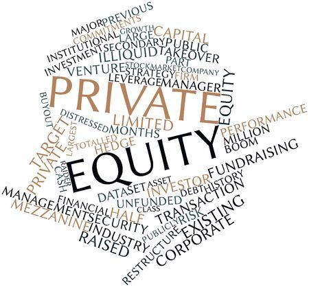 equidad: Nube palabra abstracta para fondos de capital privado con las etiquetas y términos relacionados