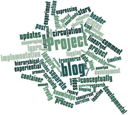 Abstract word cloud for Project blog with related tags and terms Фото со стока