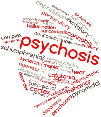 psychotic: Abstract word cloud for Psychosis with related tags and terms