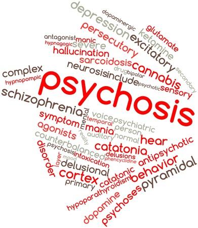 thalamus: Nube palabra abstracta para Psicosis con etiquetas y t�rminos relacionados Foto de archivo