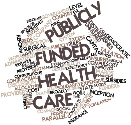 funded: Abstract word cloud for Publicly funded health care with related tags and terms Stock Photo