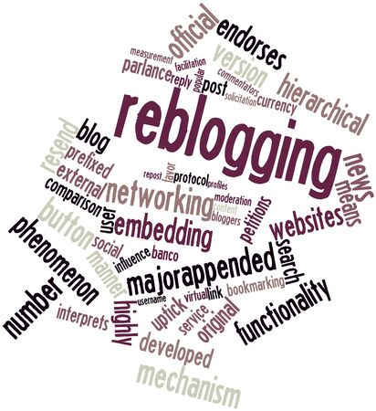 Abstract word cloud for Reblogging with related tags and terms Stock Photo - 16580198