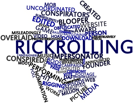 uncoordinated: Abstract word cloud for Rickrolling with related tags and terms Stock Photo